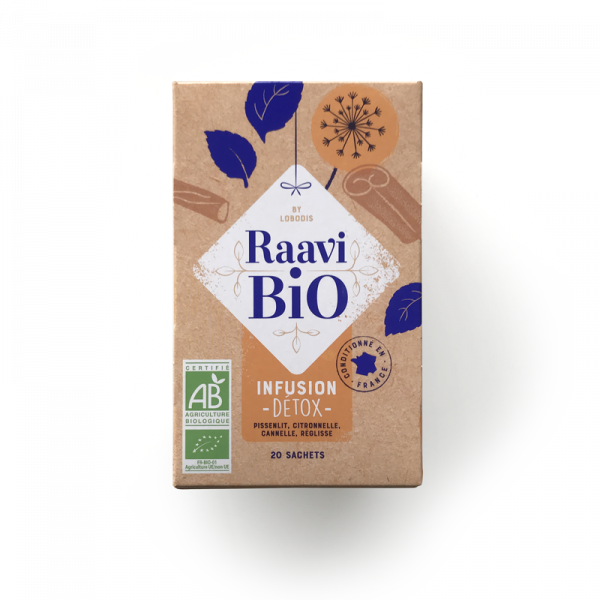 Infusion Détox Raavi Bio : pissenlit, citronnelle, cannelle et réglisse