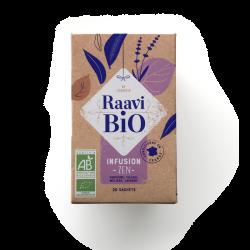 Infusion Zen Raavi Bio : verveine, tilleul, mélisse et lavande RAAVI Bio